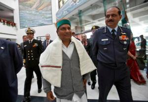 File photo of India's Defence Minister Antony arriving to address news conference at BrahMos Aerospace office in New Delhi